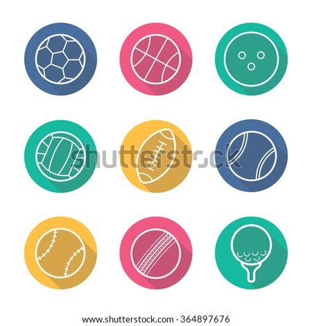 Sport balls flat linear long shadow icons set. Soccer, basketball, bowling and tennis game equipment. Volleyball and american football balls. Outline logo concepts. Vector line art illustrations
