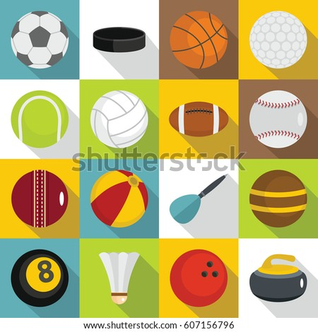 Sport balls icons set. Flat illustration of 16 sport balls vector icons for web