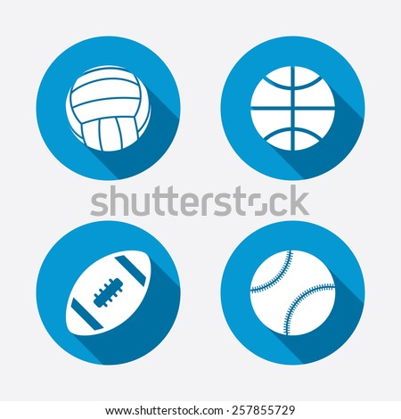 Sport balls icons. Volleyball, Basketball, Baseball and American football signs. Team sport games. Circle concept web buttons. Vector