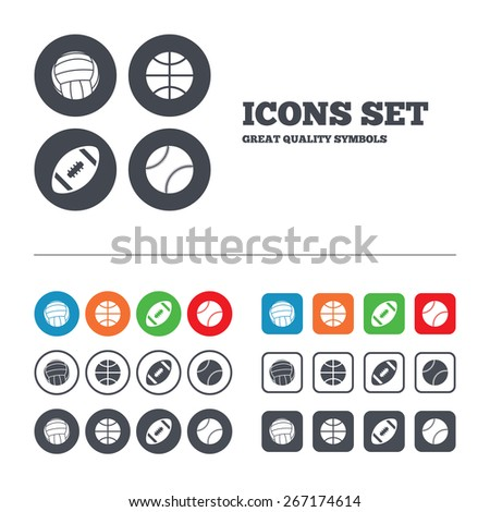 Sport balls icons. Volleyball, Basketball, Baseball and American football signs. Team sport games. Web buttons set. Circles and squares templates. Vector