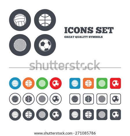 Sport balls icons. Volleyball, Basketball, Soccer and Golf signs. Team sport games. Web buttons set. Circles and squares templates. Vector