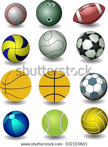 sport balls on a white background
