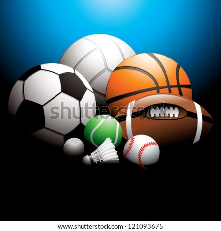 sport balls on background