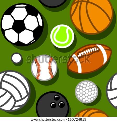 sport balls on green seamless pattern