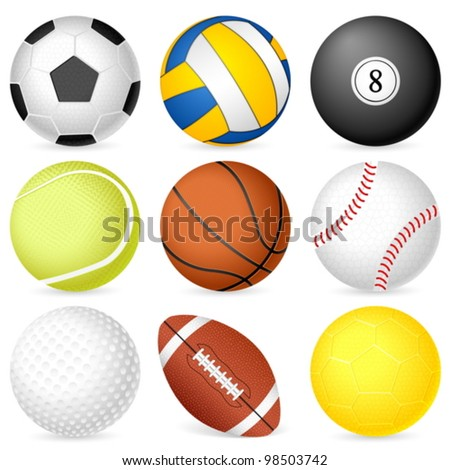 Sport balls on white background. Vector illustration.