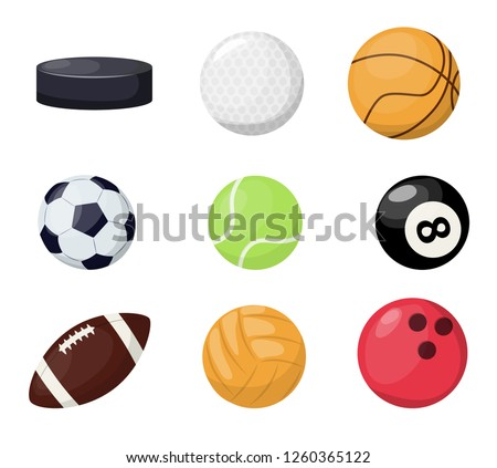 Sport balls on white background. Vector illustration sport tournament win round basket soccer equipment. Recreation leather group traditional different sportballs washer, flyhook.