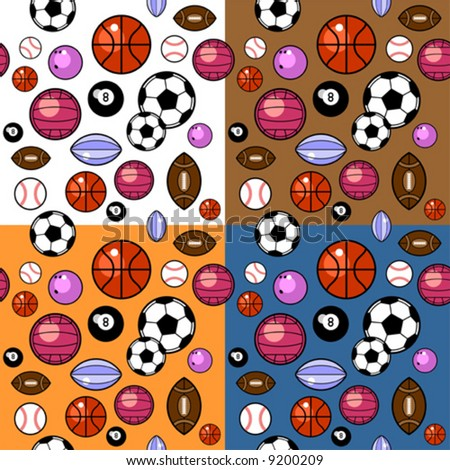 sport balls pattern in four different colors
