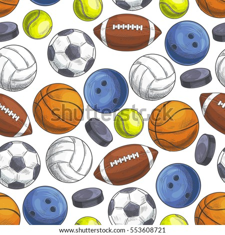 Sport balls seamless pattern. Vector pattern of color sketch icons of sports gaming balls for rugby, football, soccer, baseball, basketball, tennis, hockey puck, bowling, volleyball
