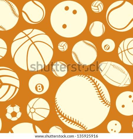 sport balls seamless pattern (vector silhouettes of sport balls, sport balls pattern abstract seamless texture, sport balls background)