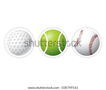 Sport Balls set Golf, tennis, baseball