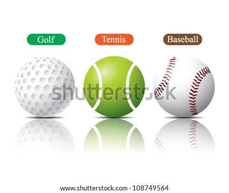 Sport Balls set Golf, tennis, baseball - stock vector