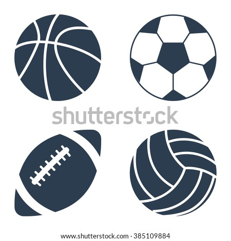 sport balls set on black