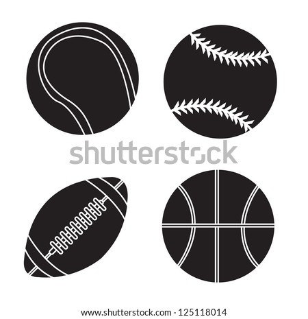 Sport balls silhouettes over white background vector illustration