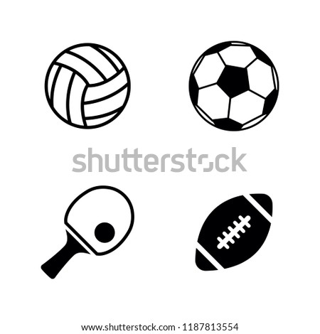 Sport Balls. Simple Related Vector Icons Set for Video, Mobile Apps, Web Sites, Print Projects and Your Design. Sport Balls icon Black Flat Illustration on White Background.