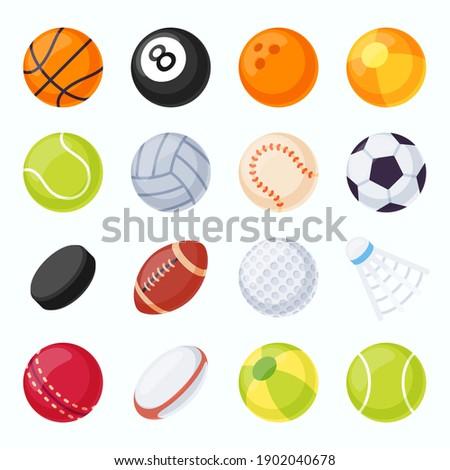 Sport balls. Soccer, tennis, volleyball, baseball and football equipment. Hockey puck and badminton shuttlecock. Flat game ball vector set. Basketball and baseball, volleyball and soccer illustration