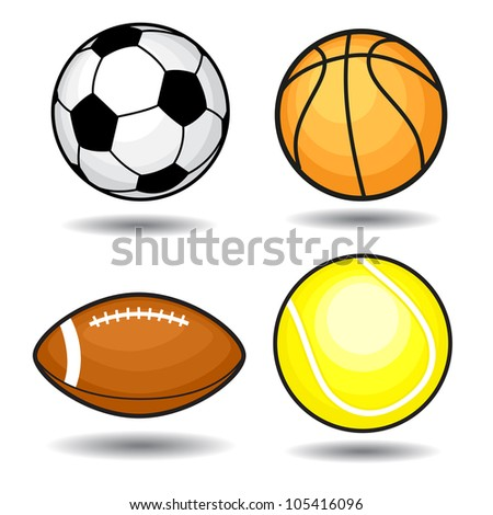 Sport balls. Vector collection. Isolated on white background.