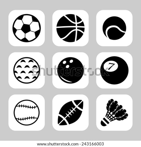 sport balls vector icon set