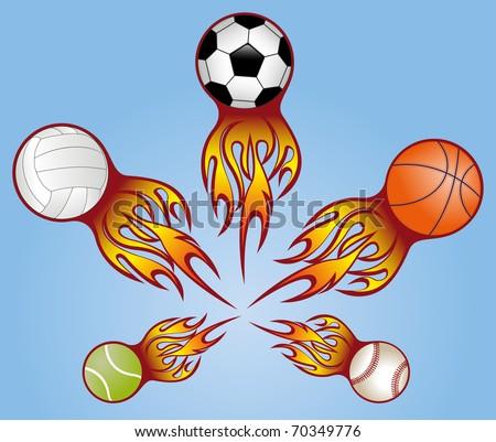 sport balls vith flame