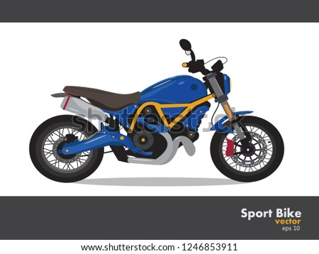 sport bike  vector blue color  isolated