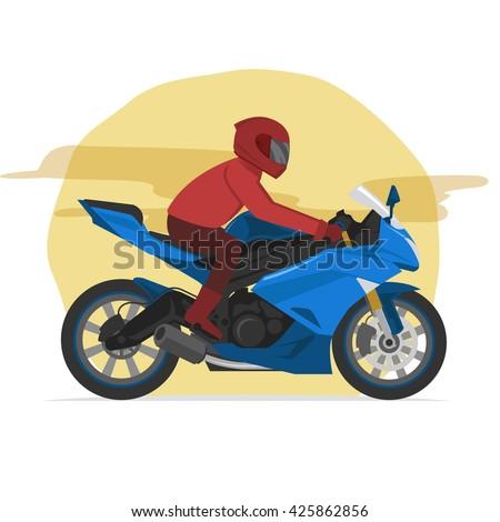 sport blue motorbike rider