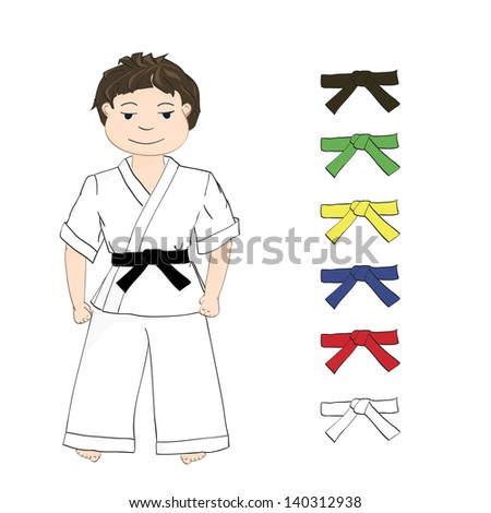 sport boy karate and colored