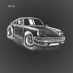 Sport car hand drawn vector illustration. Chalk sketch style. Small retro coupe