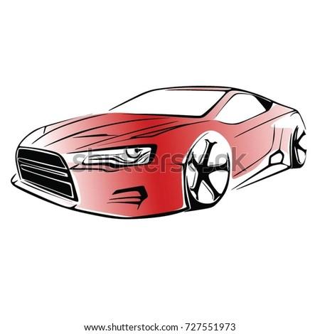 Sport car. Modern car on a white background. Vector