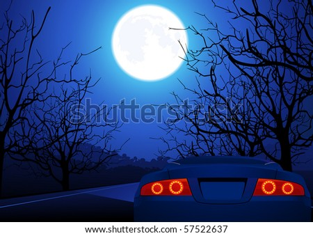 Sport car on night road, vector illustration
