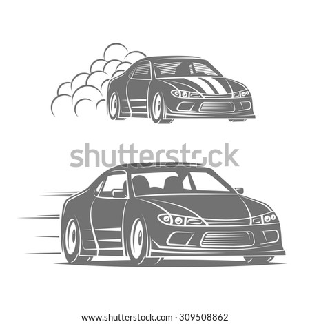 Sport car vector logo design. Street racing illustration. Drift show elements.
