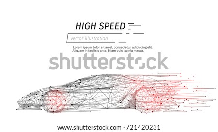 sport car with polygon line on abstract background. Polygonal space low poly with connecting dots and lines. Connection structure. Vector speed concept background.