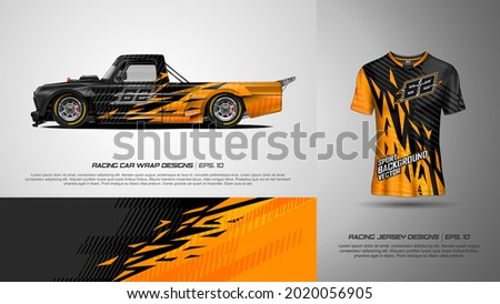 Sport car wrap and t shirt design vector for race car, pickup truck, rally, adventure vehicle, uniform and sport livery. Graphic abstract stripe racing background kit designs. eps 10 Photo stock ©