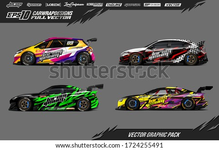 Sport car wrap decal designs set. Abstract stripe racing background. Full vector Eps 10.