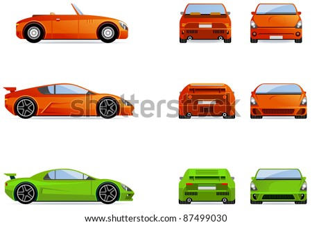 sport cars  set of the car
