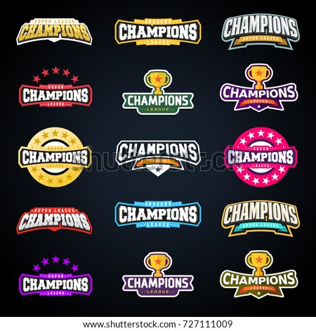 Sport champion or champions league emblem typography set. Vector Super sport logo for your t-shirt. Vector Mega logotype bundle collection.