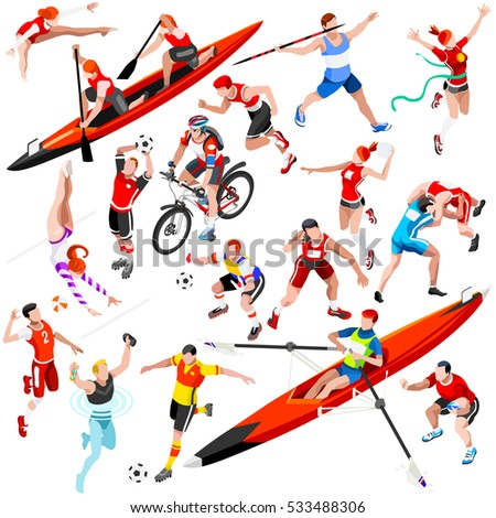 Sport character icon set isometric with sportsmen olympics game javelin throw wrestler athlete competition. Olympics icon athletics isolated vector set. Icon sport collection olympics set illustration