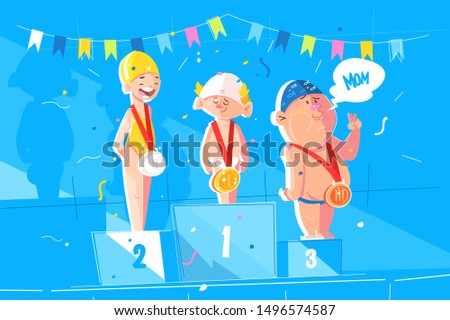 Sport childrens competitions vector illustration. Cartoon boys with gold, silver, bronze medals standing on award podium with first, second, third places flat style. Concept of competitive spirit