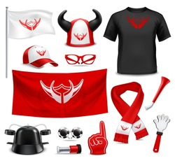 Sport club fans buffs and supporters t-shirt flags and accessories red black design realistic set vector illustration