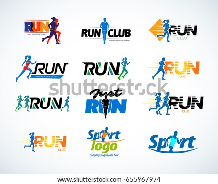 Sport club, running club vector labels and emblems, logotypes, badges. Apparel, t-shirt design concepts. Athletic silhouette training, athlete run illustration. Isolated vector illustration.