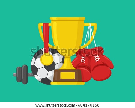 Sport concept. Gold winner champions cup with medal, boxing gloves, soccer ball and dumbbell on color background. Vector design illustration. Flat style icon.