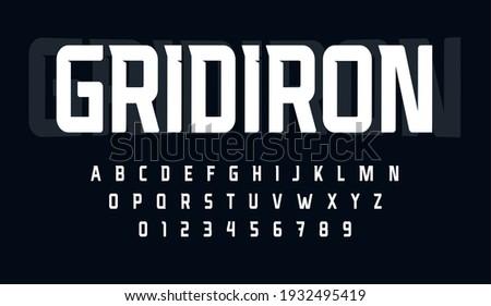 Sport condensed alphabet. Tall monumental font for modern american football logo. Typeset for rugby gridiron branding, sport headline, monogram. Minimal style letters, vector typographic design.