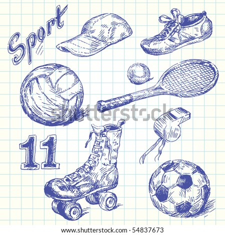 sport doodles - stock vector