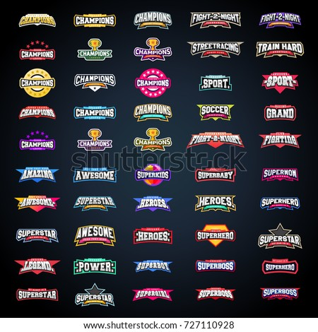 Sport emblem typography set. Super logo for your t-shirt. Mega logotype collection