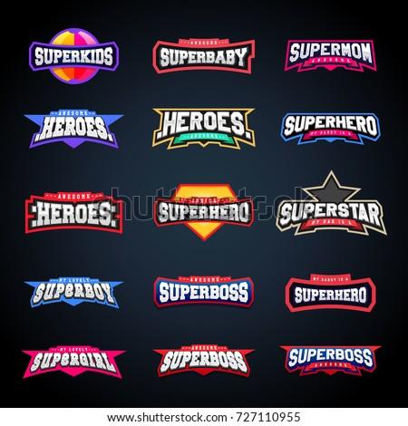 sport emblem typography set