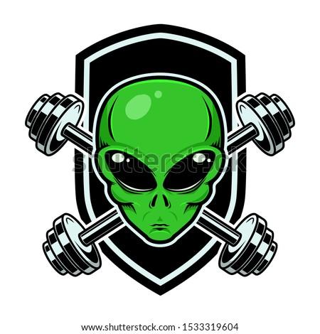 Sport emblem with alien head and crossed barbells. Design element for logo, label, sign. Vector illustration