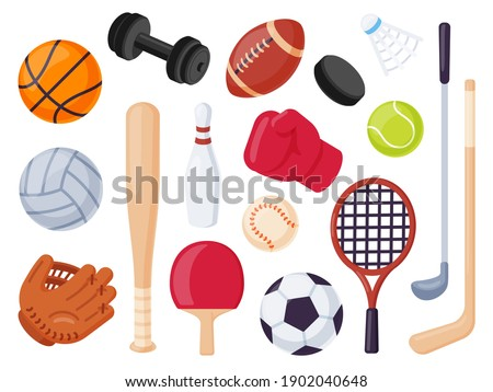 Sport equipment. Cartoon balls and gaming item for hockey, rugby, baseball and tennis racket. Bowling, boxing and golf flat icons vector set. Illustration recreation ball for soccer and tennis Сток-фото ©