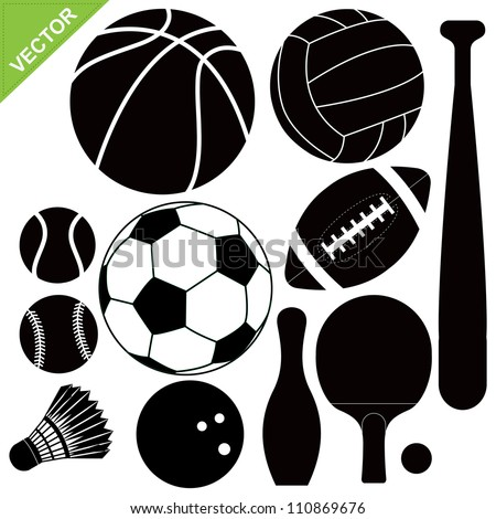 Sport equipment silhouettes vector