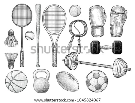 sport equipments illustration ...