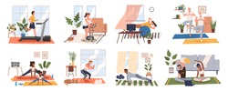 Sport exercise at home scenes set. Different people doing workout indoor. Yoga and fitness, healthy lifestyle. Flat vector illustration men and women using house as a gym lead an active lifestyle