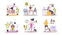 Sport exercise at home set. Woman doing workout indoor. Yoga and fitness, healthy lifestyle. Flat vector illustration