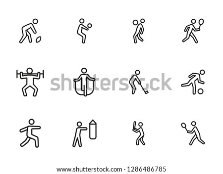 Sport exercise line icon set. Set of line icons on white background. Fitness concept. Baseball, tennis, rugby. Vector illustration can be used for topics like bodybuilding, sport, activity